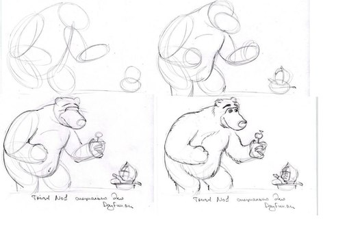 Как нарисовать машу и медведя поэтапно для детей