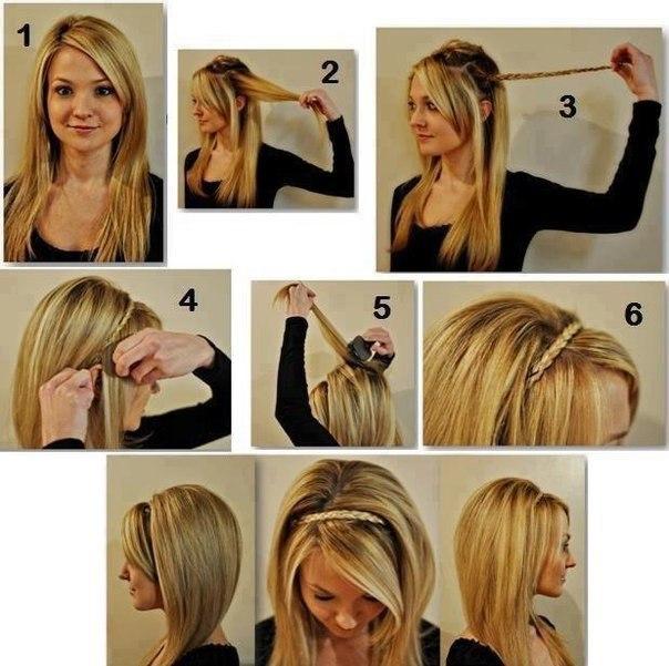 Прическа на скорую руку на средний волос