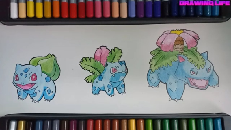 Cách vẽ cấp tiến hóa pokemon ếch kì diệu-Bulbasaur-bằng màu chì