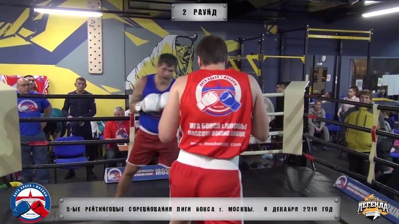 5-е рейтинговые бои Лига бокса г. Москвы – 8.12.18 г. до 91 кг.