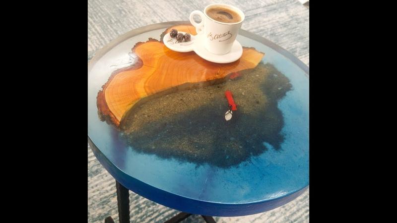 Wood Epoxy Resin Coffee Table Sea - Ahşap Epoksi Sehpa Deniz
