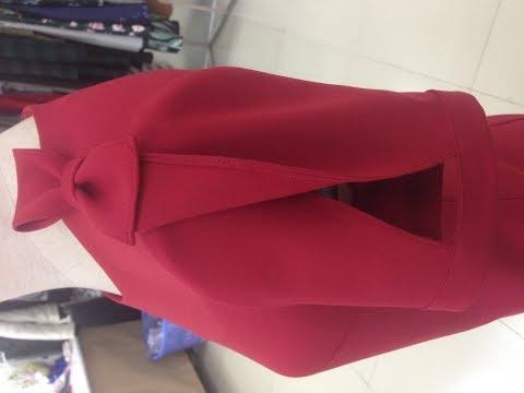 Bài 12 Cách cắt tay cánh hồng có nơ liền gắn vai- How to cut the pink wing with a bow tie.