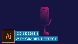 Microphone icon with gradient effect   Icon design in Illustrator   adobe illustrator