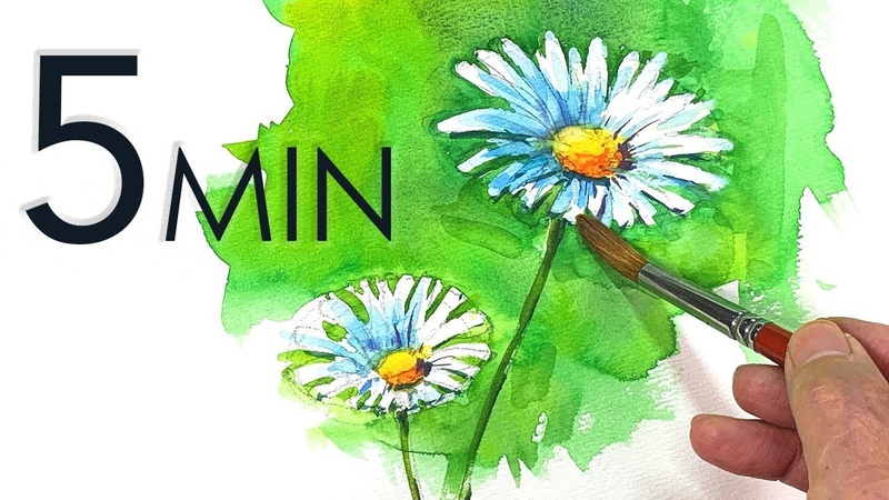 Eng sub 5min Easy Watercolor Marguerite flower painting