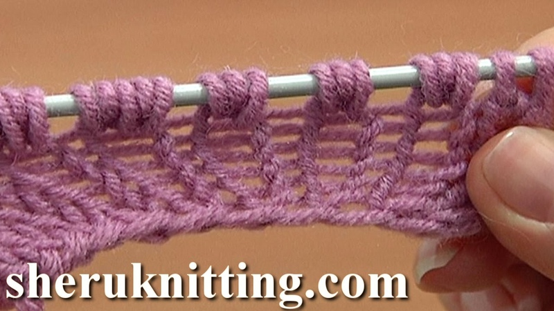 Increase Knit 1 Yarn Over Knit 1 Tutorial 8 Part 9 of 14 Three-Stitches Increase Into Same Stitch