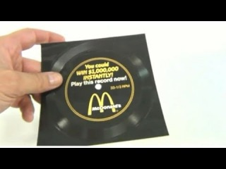 McDonald's Vintage 1988 Million Dollar Menu Song Record - You could WIN $1,000,000 Instantly!