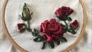 D I Y Ribbon Embroisery Rose Hiowbgs dẫn thêu ruy băng hoa hồng đơn giản