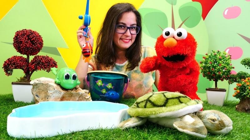 Çocuk videoları. Elmo oyuncak kaplumbağa ile arkadaş ediniyor