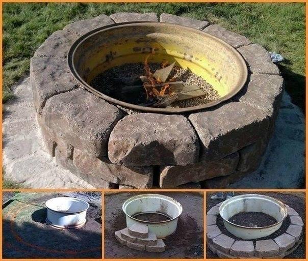 Кострище из стального колесного диска и камней