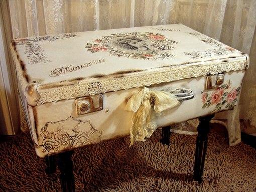 Как сделать декупаж из старого чемодана