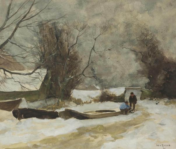 Figures on a frozen canal, Willem de Zwart, 1862 - 1931 Watercolour and gouache on paper, 34 x 40.5 cm
