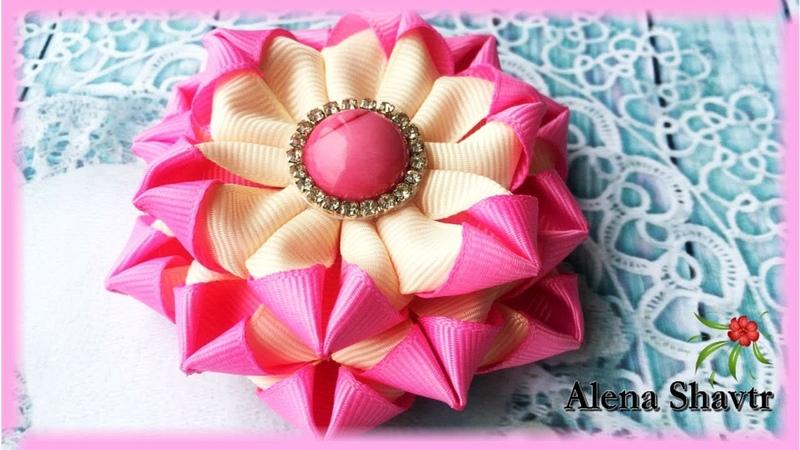 Цветочки из репсовой ленты 2,5 см🎀МК🎀Laço de fita🎀Ribbon bow