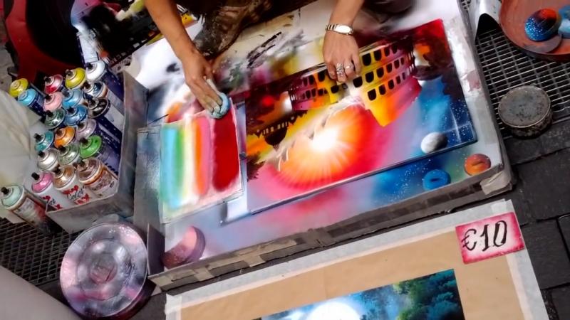 Италия. Рим. Рисунок баллончиками с красками.