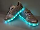 Кроссовки светящиеся серебряные 31-36 рр