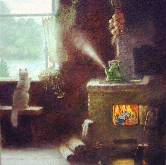 Маленький домик, русская печка,