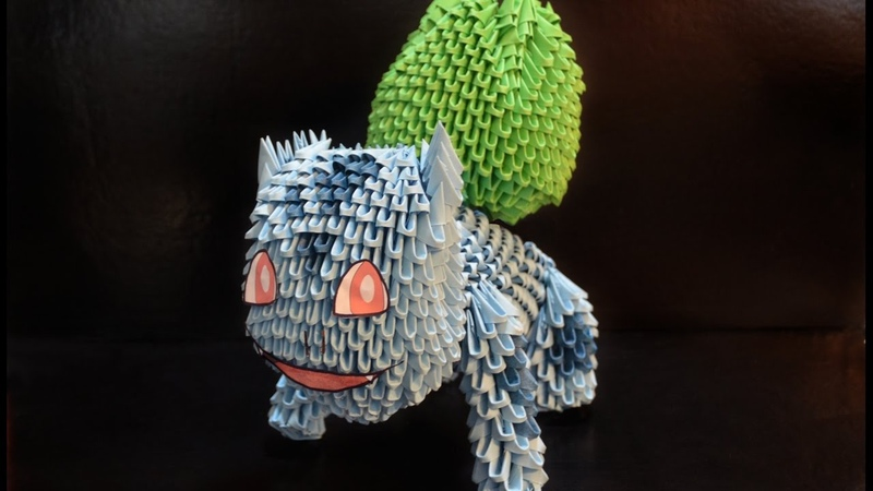 Part 3/4 - Origami 3D tutorial - How to make a Bulbasaur (Pokemon)