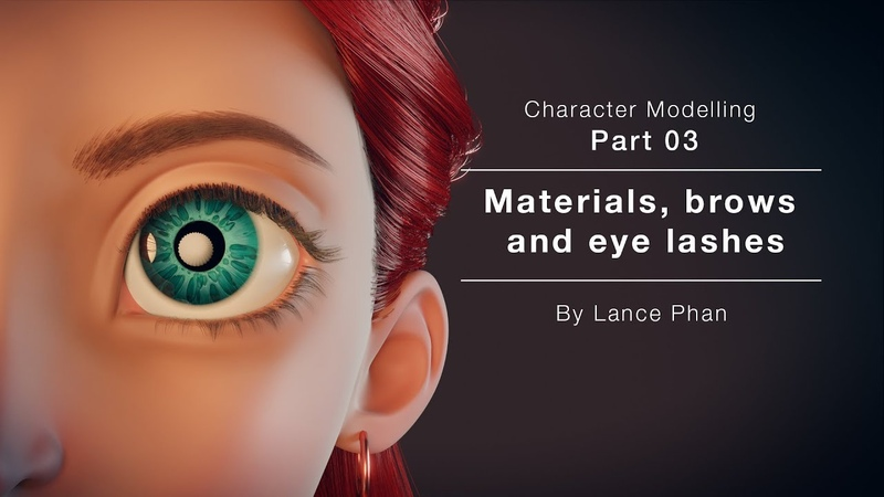 Blender 2.8 - Character modelling 03 - Materials, brows and eye lashes