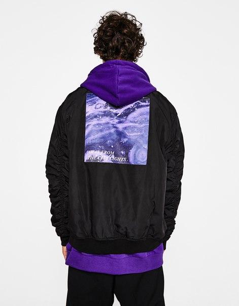 Куртка-бомбер с рукавами со сборкой
