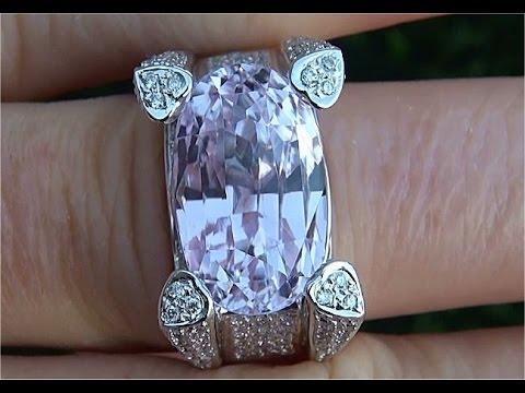 GIA Certified Natural VVS Pink Kunzite Diamond 14k White Gold Estate Ring - A1108