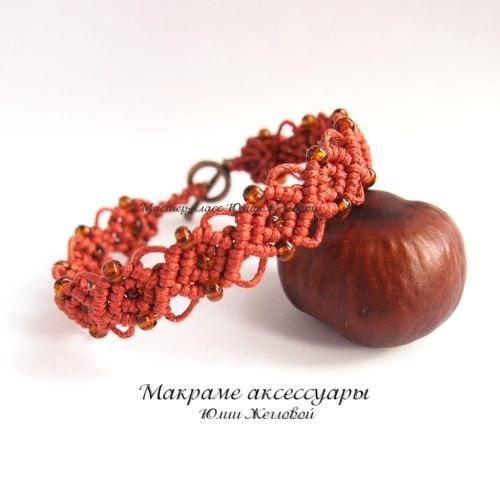 Плетём браслет с бисером  Автор: Юлия Жеглова (makrame)