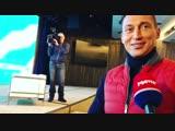 Антон Шипулин, Александр Легков и Илья Трифанов после пресс-конференции о завершении карьеры (декабрь 2018)