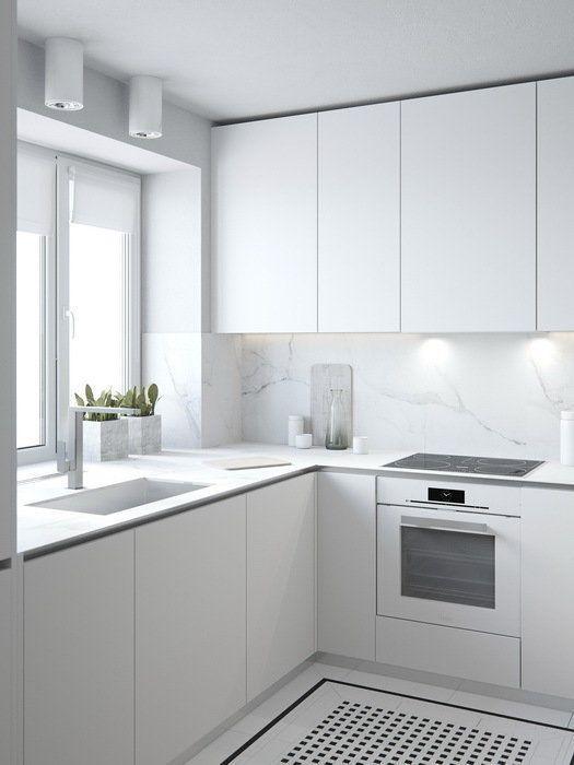 матовая кухня белого цвета
