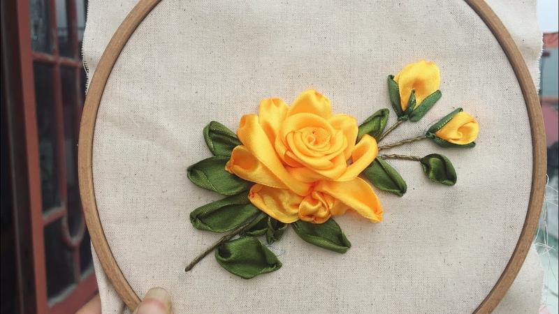 D.I.Y Ribbon Embroidrey Yellow Rosa/ Hướng dẫn thêu ruy băng hoa hồng vàng