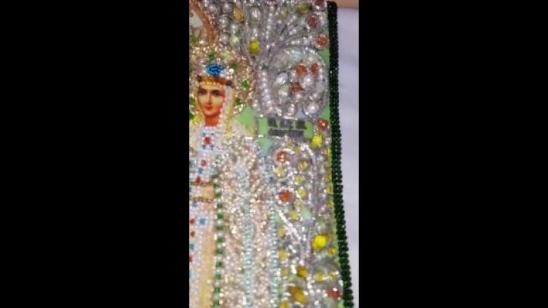 Вышивка хрустальными бусинами и настоящими камнями из серии Образа в каменьях Святые Петр и Феврония подарок мужа на