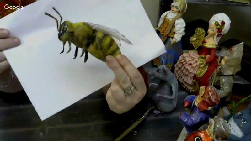 Васько Елена. Ватные игрушки. Пчела 09.04.18