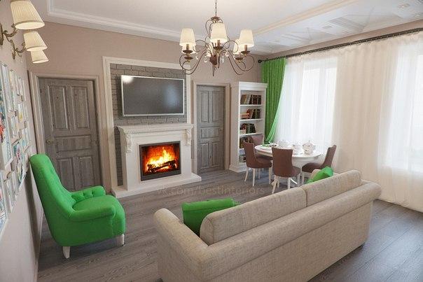 Гостиная и кухня с ярким декором в зеленом цвете… (6 фото)