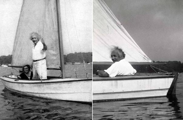 Альберт Эйнштейн катается с Маргарет Лебах на лодке,