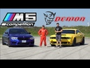 2019 BMW M5 Competition vs. Dodge Demon TRACK TEST Drag Race, Drifting, Lap Times