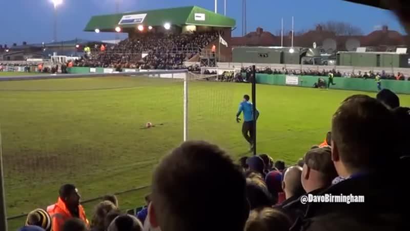 Birmingham fans taunting the Blyth goalkeeper