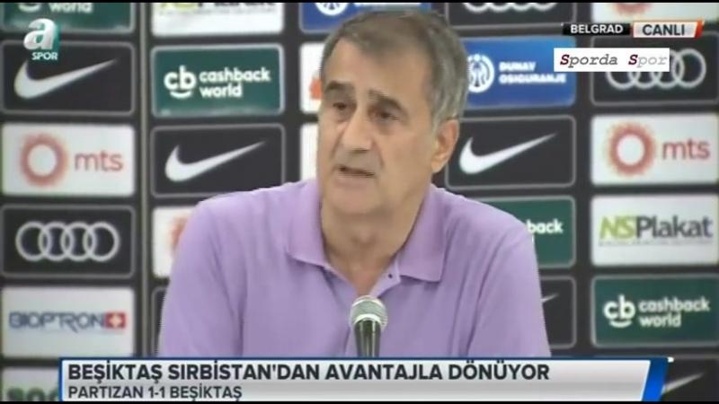"""Partizan - Beşiktaş 1-1 Maç Sonu"""" Şenol Güneş"""" Basın Toplantısı"""