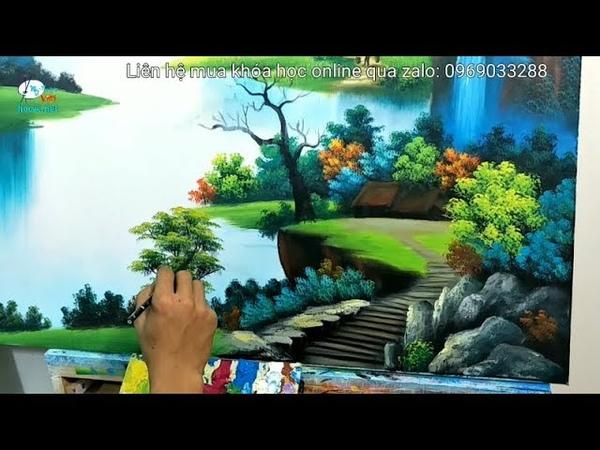 Dạy vẽ tranh, cách chấm cây ở tiền cảnh trong tranh sơn thủy, nằm trong K. học vẽ tranh tường online