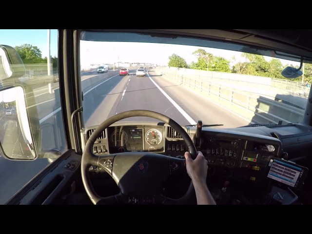 Scania G490 Dolly Trailer, Awesome Turbo engine sound driving vlog 29 june. Stockholm, Sweden.