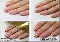 Освежить этот вид маникюра можно, использовав вместо привычно белого цвета, для свободного края ногтя, золотой.