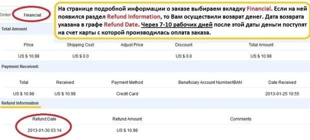 Aliexpress отменил заказ когда вернут деньги