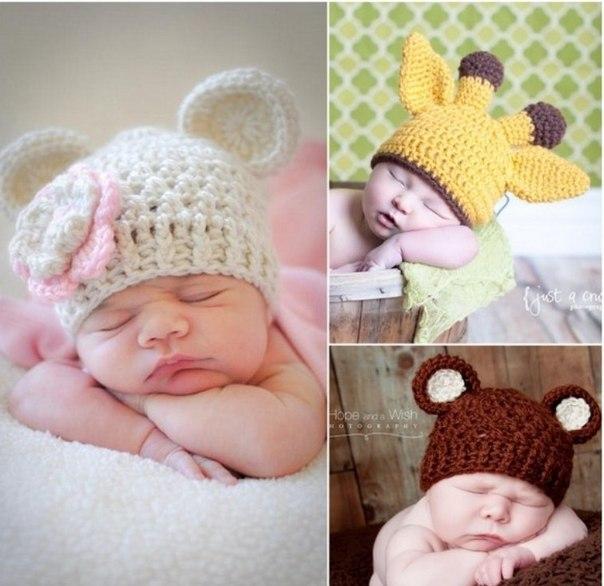Вязание шапочек для младенцев