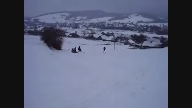 я на лыжах испугал лошадь