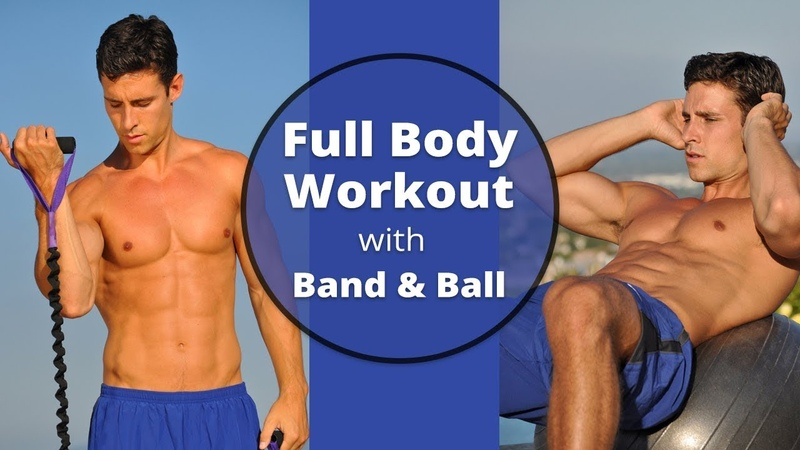 Full Body Workout with Resistance Band Stability Ball - Music Only with no Instructions