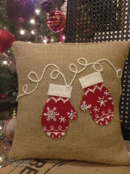 Декоративные новогодние подушки. Идеи для вдохновения.