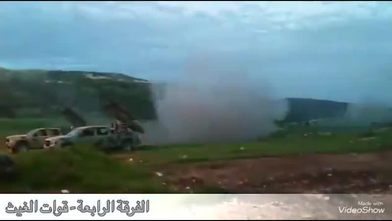 Golan IRAMs from 42nd Brigade SAA targeting Syrian Al-Qaeda HTS TIP in Kabanah region on Latakia