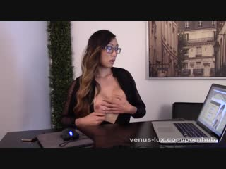 Venus Lux Strokes her Cock at the Office