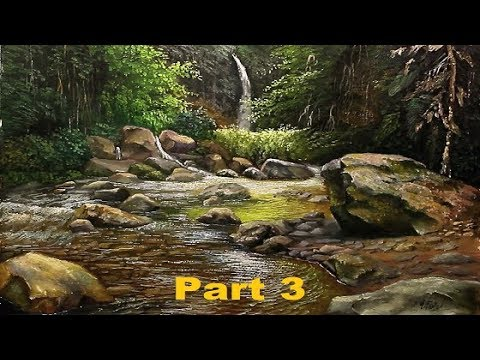 Oil Painting Tropical Landscape With Rocks By Yasser Fayad Part 3