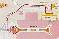Схема движения автобусов между терминалами аэропорта.  Panjiayuan.  Xidan.