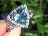 Julia Roberts Top Gem Aquamarine &amp Diamond Ring Set In Solid 14K White Gold With VS Diamonds