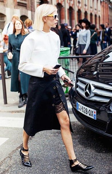 носить юбку с вырезом… (6 фото) - картинка