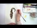 как рисовать волосы акварелью цветные карандаши