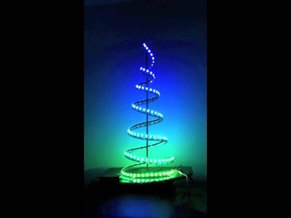 LED light strip on indoor spiral Christmas tree